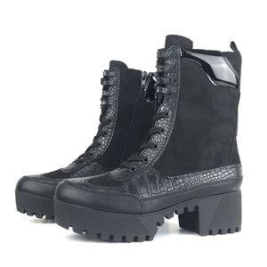 Chunky Heel Platform Lug Sole Military Combat Boot